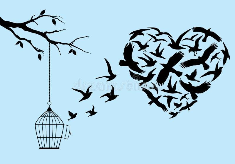 Πετώντας καρδιά πουλιών, διάνυσμα απεικόνιση αποθεμάτων