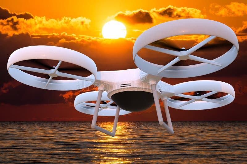 Πετώντας κηφήνας με την ενσωματωμένη κάμερα στο ηλιοβασίλεμα διανυσματική απεικόνιση