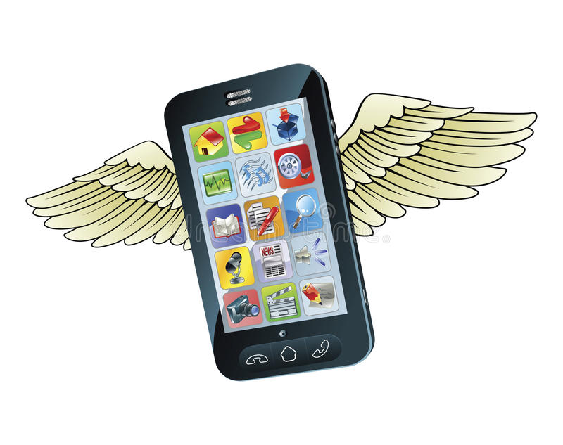 πετώντας κινητά τηλεφωνικά απεικόνιση αποθεμάτων