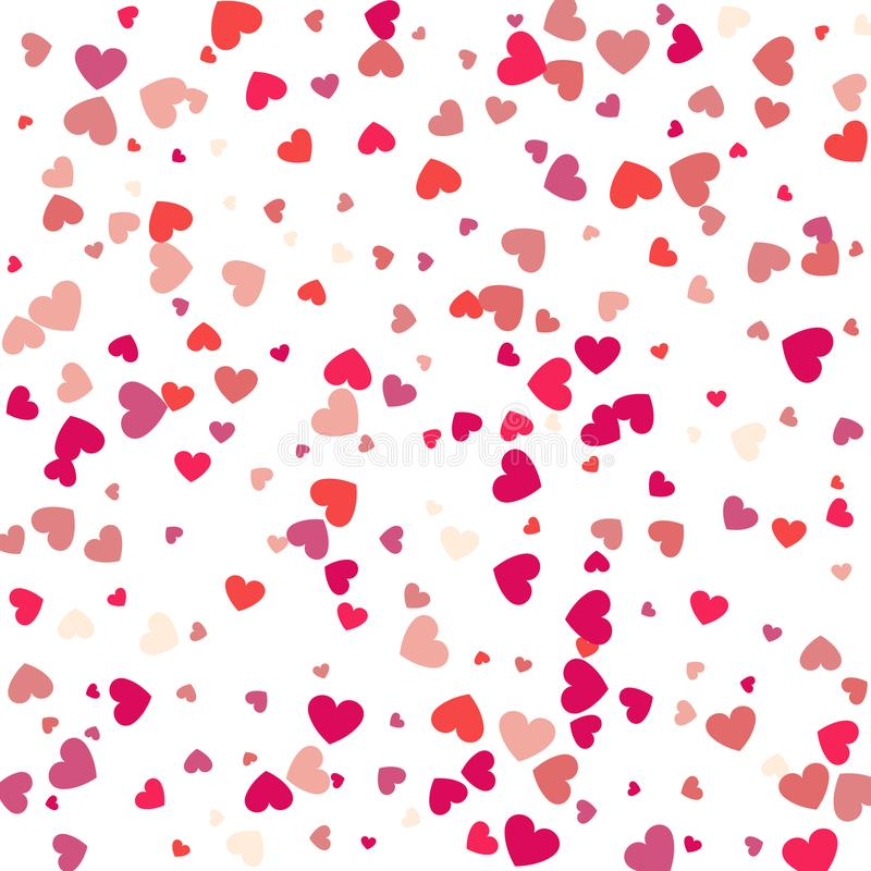 Πετώντας κομφετί καρδιών, διανυσματικό υπόβαθρο ημέρας βαλεντίνων, romanti ελεύθερη απεικόνιση δικαιώματος
