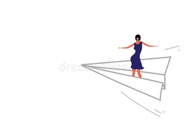 Πετώντας κορίτσι έννοιας κατεύθυνσης ηγεσίας επιχειρησιακών γυναικών αεροπλάνων εγγράφου origami επιχειρηματιών που στέκεται στο  απεικόνιση αποθεμάτων