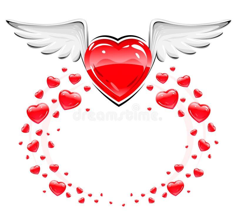 πετώντας κόκκινα άσπρα φτερά αγάπης καρδιών απεικόνιση αποθεμάτων