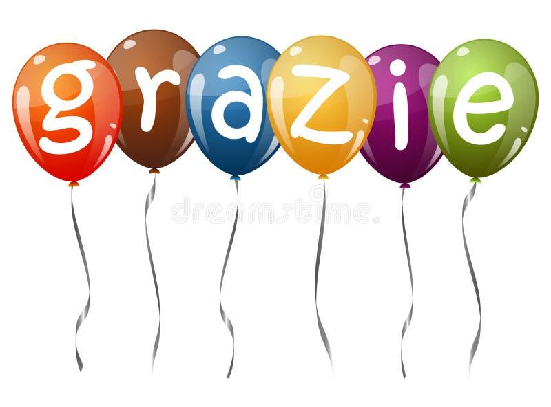 πετώντας μπαλόνια με το κείμενο GRAZIE απεικόνιση αποθεμάτων