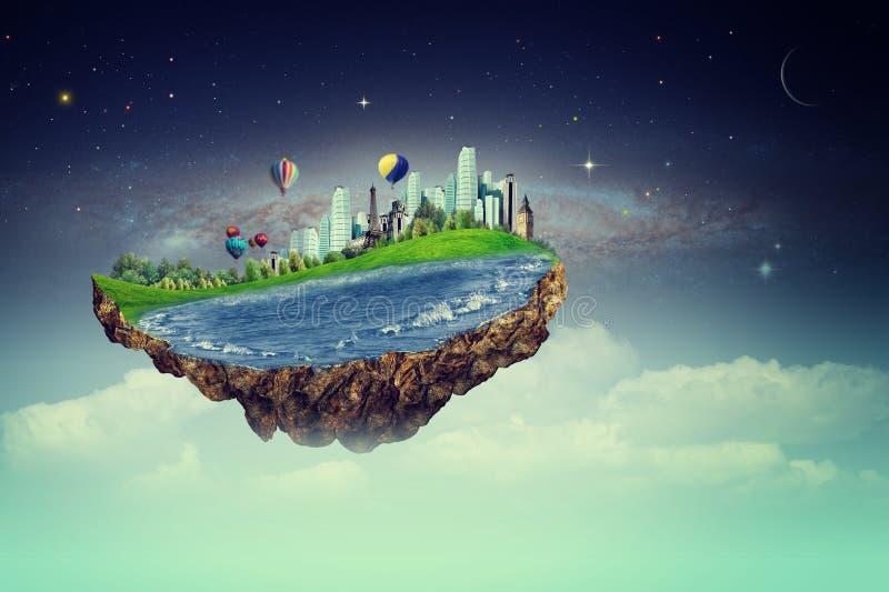 Πετώντας νησί Έννοια Eco με το φανταστικό νησί στοκ φωτογραφία με δικαίωμα ελεύθερης χρήσης