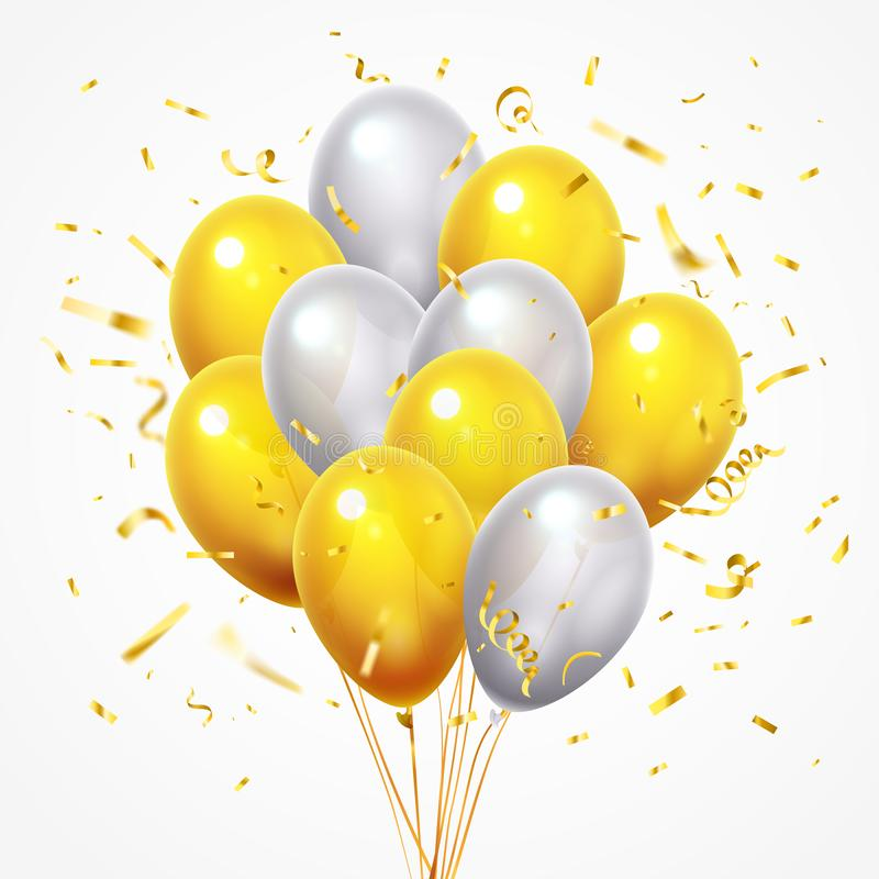 Πετώντας ομάδα μπαλονιών Χρυσό λαμπρό μειωμένο κομφετί, στιλπνό κίτρινο και άσπρο μπαλόνι ηλίου με το χρυσό τρισδιάστατο διάνυσμα απεικόνιση αποθεμάτων