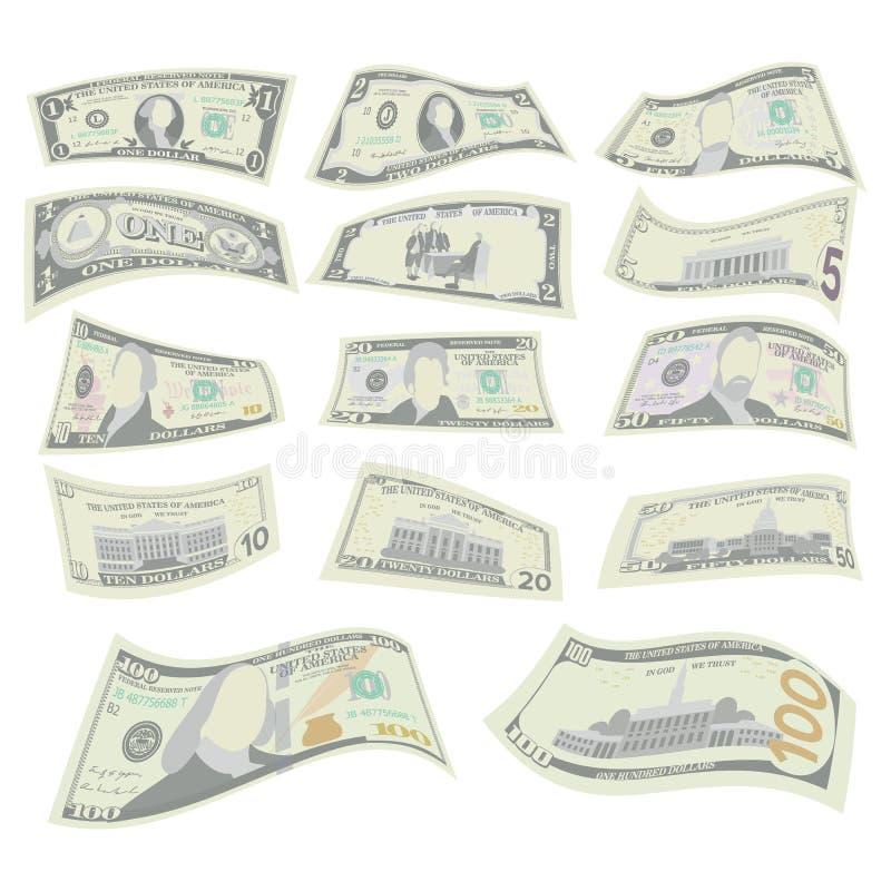 Πετώντας δολάρια καθορισμένα διάνυσμα Δύο πλευρές της αμερικανικής απεικόνισης του Μπιλ χρημάτων Πετώντας δολάριο μετρητών κάθε απεικόνιση αποθεμάτων