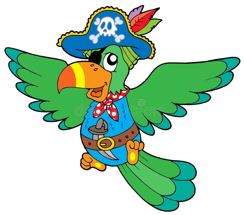 πετώντας πειρατής παπαγάλων διανυσματική απεικόνιση