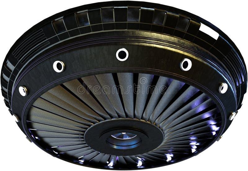 Πετώντας πιατάκι αλλοδαπό UFO που απομονώνεται, διαστημόπλοιο απεικόνιση αποθεμάτων