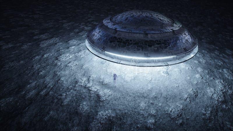 Πετώντας πιατάκι με τον αλλοδαπό στο φεγγάρι Έννοια UFO Ρεαλιστικά shaders μετάλλων τρισδιάστατη απόδοση ελεύθερη απεικόνιση δικαιώματος
