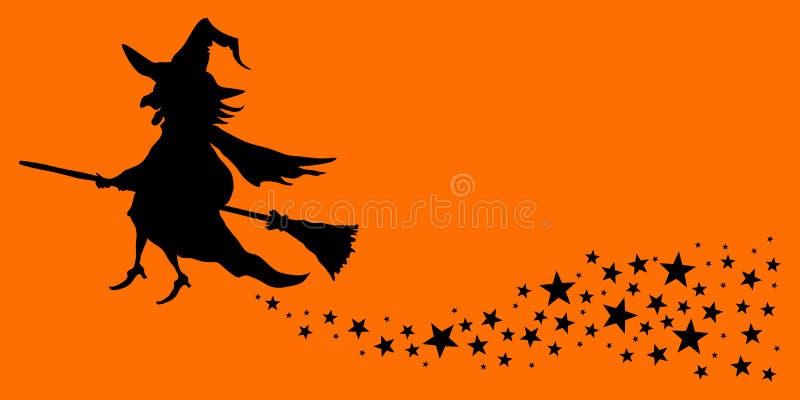 Πετώντας πορτοκάλι και ο Μαύρος ουρών αστεριών μαγισσών αποκριών απεικόνιση αποθεμάτων
