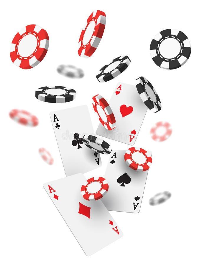 Πετώντας ρεαλιστικές ή τρισδιάστατες τσιπ χαρτοπαικτικών λεσχών και κάρτες άσσων ελεύθερη απεικόνιση δικαιώματος