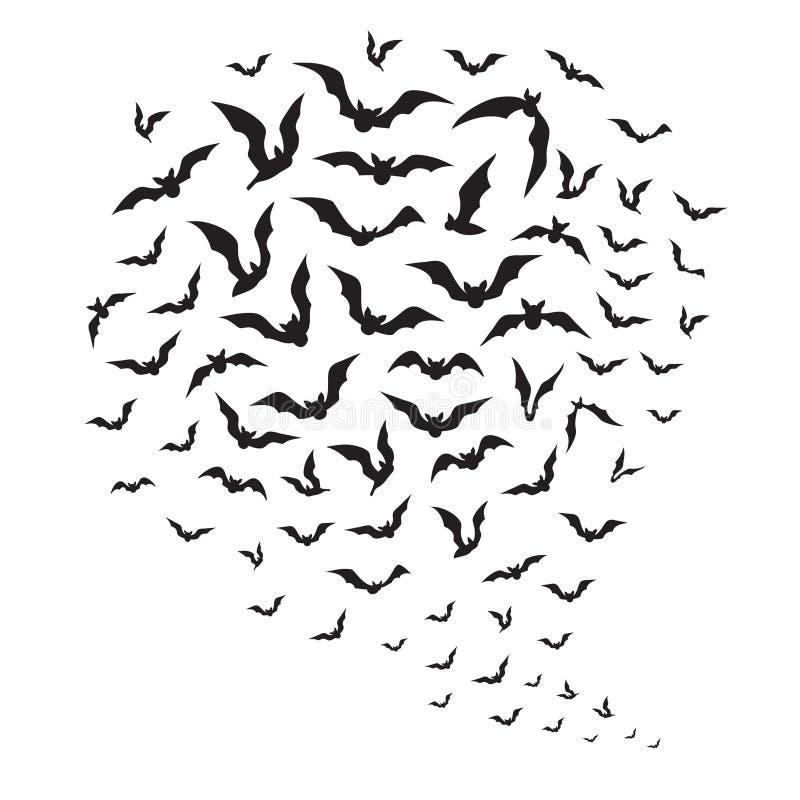 Πετώντας ρόπαλα αποκριών Σμήνος των σκιαγραφιών ροπάλων στον ουρανό Ανατριχιαστική batman διανυσματική διακόσμηση αποκριών διανυσματική απεικόνιση