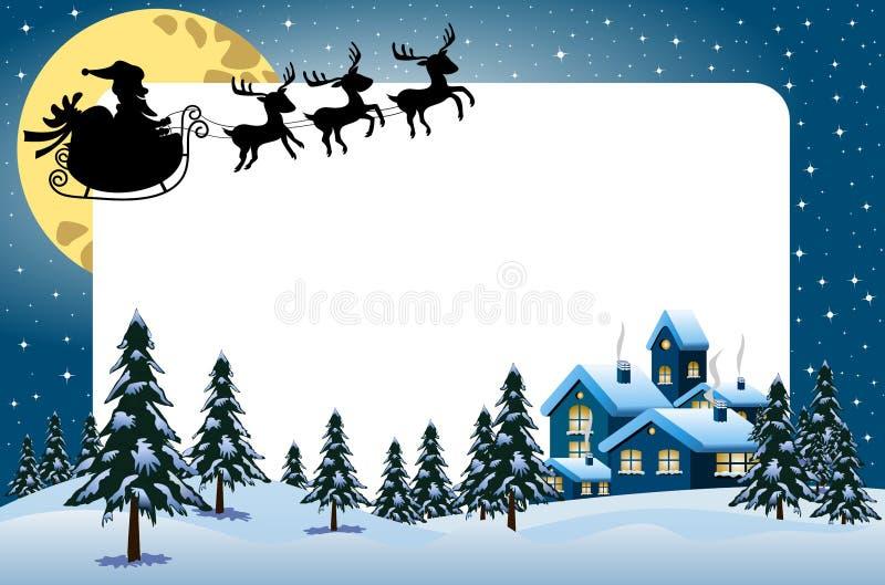 Πετώντας σκιαγραφία Άγιου Βασίλη πλαισίων Χριστουγέννων απεικόνιση αποθεμάτων