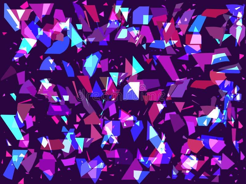 Πετώντας σπασμένα μόρια σε ένα σκοτεινό υπόβαθρο Τρίγωνα, γεωμετρικές μορφές Παρέμβαση, τέχνη δυσλειτουργίας διάνυσμα διανυσματική απεικόνιση