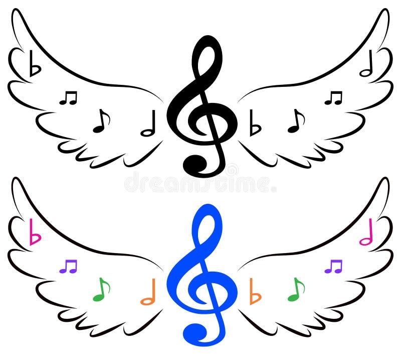 Πετώντας σύμβολα μουσικής στα φτερά απεικόνιση αποθεμάτων