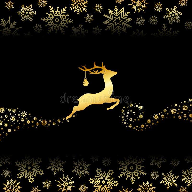 Πετώντας τάρανδος με Snowflakes σφαιρών Χριστουγέννων χρυσά και μαύρα απεικόνιση αποθεμάτων
