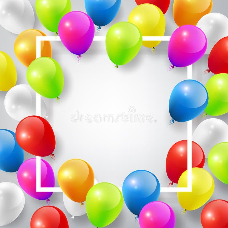 Πετώντας τα ρεαλιστικά στιλπνά ζωηρόχρωμα μπαλόνια με το τετραγωνικό άσπρο πλαίσιο για το πρότυπο σχεδίου, γιορτάστε την έννοια σ διανυσματική απεικόνιση