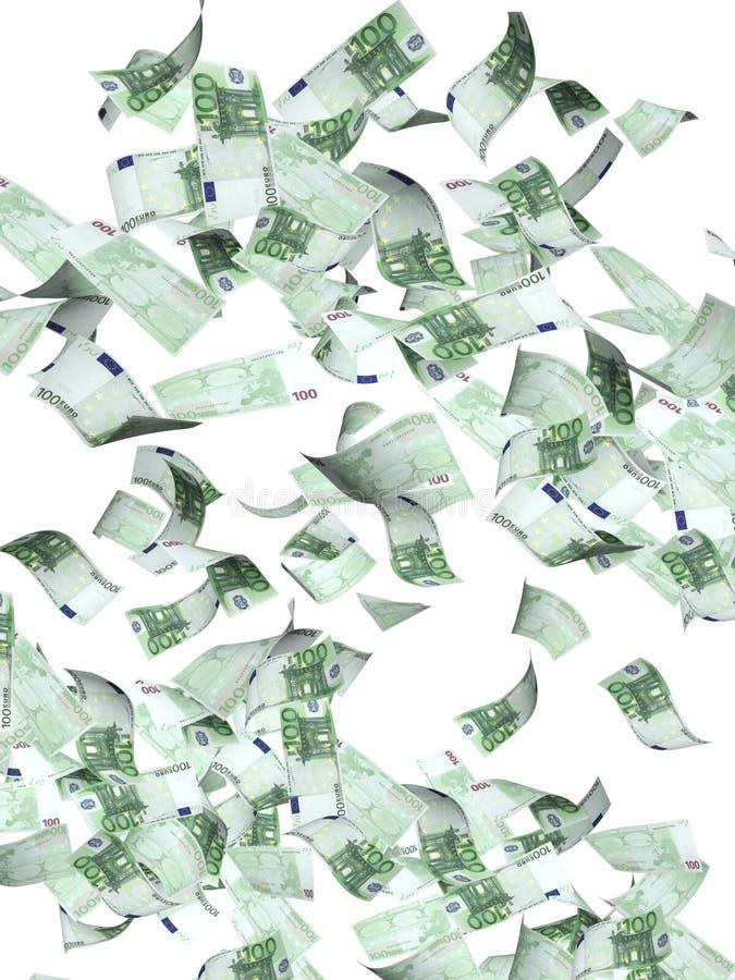 Πετώντας τραπεζογραμμάτια του ευρώ διανυσματική απεικόνιση