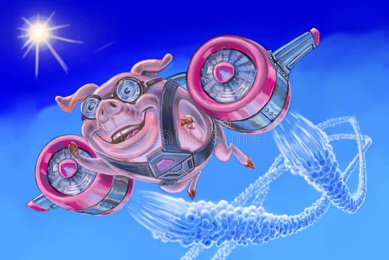 Πετώντας χοίρος με ένα αεριωθούμενο πακέτο διανυσματική απεικόνιση