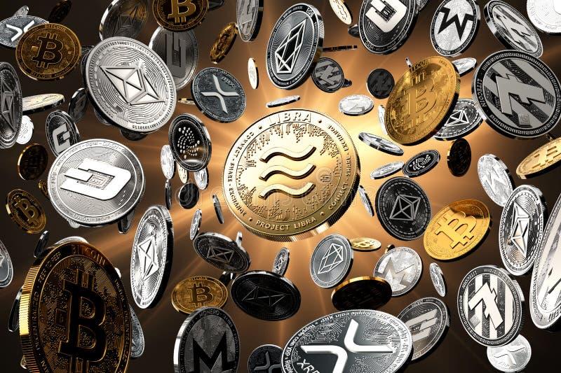 Πετώντας altcoins με το νόμισμα έννοιας Libra στο κέντρο ως πιθανώς νέο το δημοφιλέστερο cryptocurrency Χρυσό υπόβαθρο starburst ελεύθερη απεικόνιση δικαιώματος