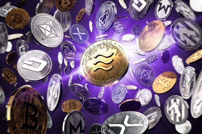 Πετώντας altcoins με το νόμισμα έννοιας Libra στο κέντρο ως πιθανώς νέο το δημοφιλέστερο cryptocurrency Ιώδες υπόβαθρο starburst διανυσματική απεικόνιση