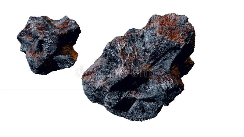 Πετώντας asteroid, μετεωρίτης απομονώστε τρισδιάστατη απόδοση διανυσματική απεικόνιση