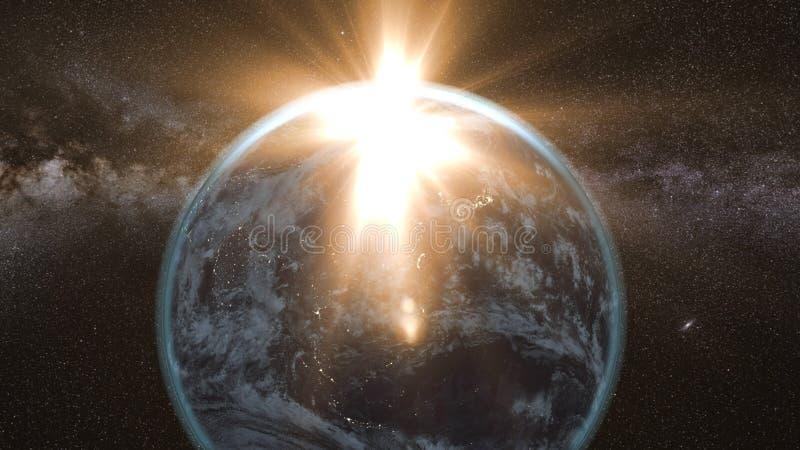 Πετώντας asteroid, μετεωρίτης στη γη περίληψη ενάντια στο θηλυκό εξωτερικό διάστημα πορτρέτου ανασκοπήσεων αρμάδων διανυσματική απεικόνιση