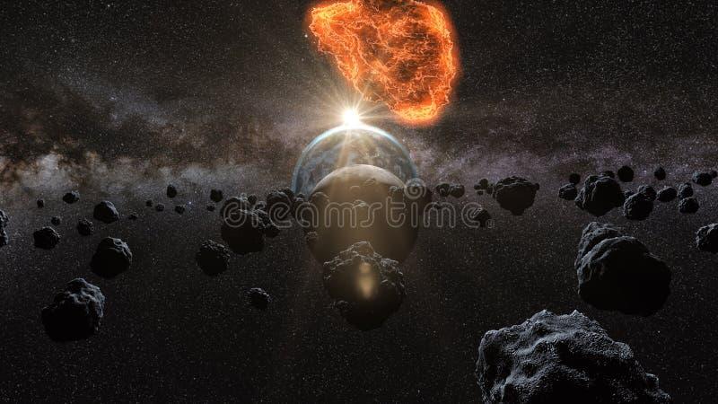 Πετώντας asteroid, μετεωρίτης στη γη περίληψη ενάντια στο θηλυκό εξωτερικό διάστημα πορτρέτου ανασκοπήσεων αρμάδων τρισδιάστατη α απεικόνιση αποθεμάτων