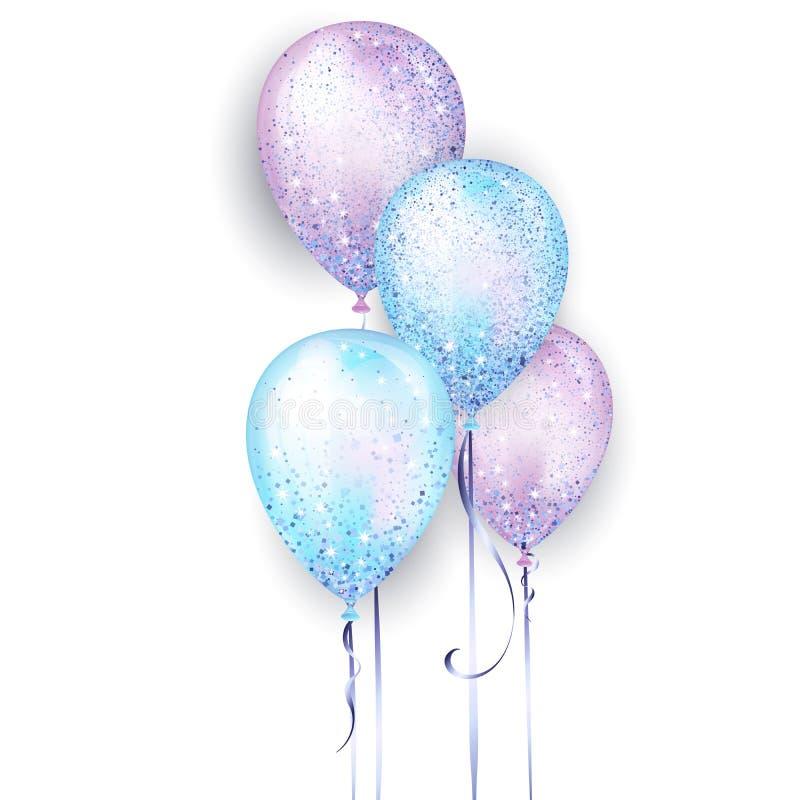 Πετώντας glossyblue και τα πορφυρά λαμπρά ρεαλιστικά τρισδιάστατα μπαλόνια ηλίου με τη χρυσή κορδέλλα και ακτινοβολούν σπινθηρίσμ ελεύθερη απεικόνιση δικαιώματος