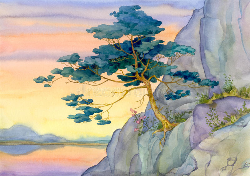 Πεύκο βουνών για ένα ήρεμο ρόδινο ηλιοβασίλεμα πέρα από τη λίμνη διανυσματική απεικόνιση