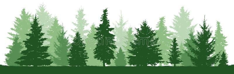 Πεύκο δέντρων, έλατο, ερυθρελάτες, χριστουγεννιάτικο δέντρο Κωνοφόρη δασική, διανυσματική σκιαγραφία ελεύθερη απεικόνιση δικαιώματος