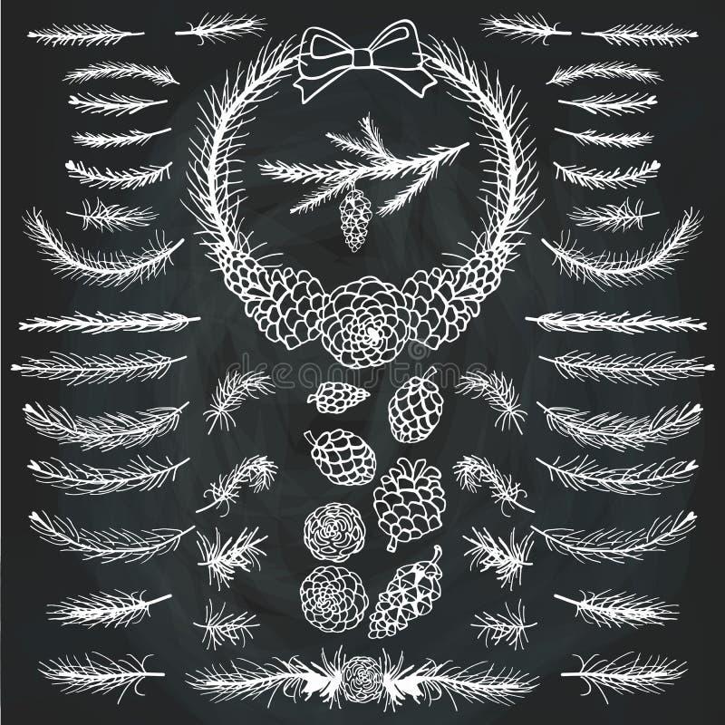 Πεύκο, κομψοί κλάδοι, κώνοι silhouett brunelleschi ελεύθερη απεικόνιση δικαιώματος