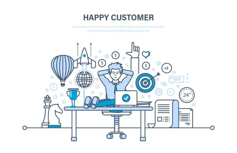 πελάτης ευτυχής Επιτυχής συνεργασία, θετικές συγκινήσεις, επίτευγμα του σκοπού διανυσματική απεικόνιση