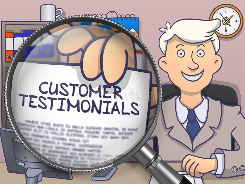 Πελάτης Testimonials μέσω του φακού Έννοια Doodle διανυσματική απεικόνιση