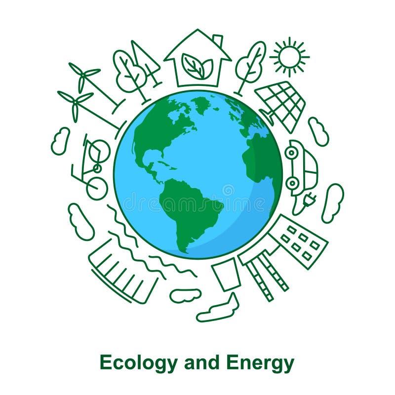 Πηγές γης και ενέργειας Οικολογική ανάπτυξη Electr έννοιας διανυσματική απεικόνιση