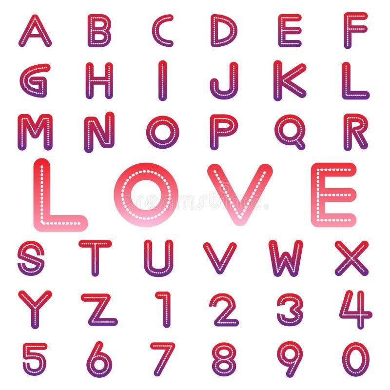 Πηγές και αριθμοί αλφάβητου για το βαλεντίνο ελεύθερη απεικόνιση δικαιώματος