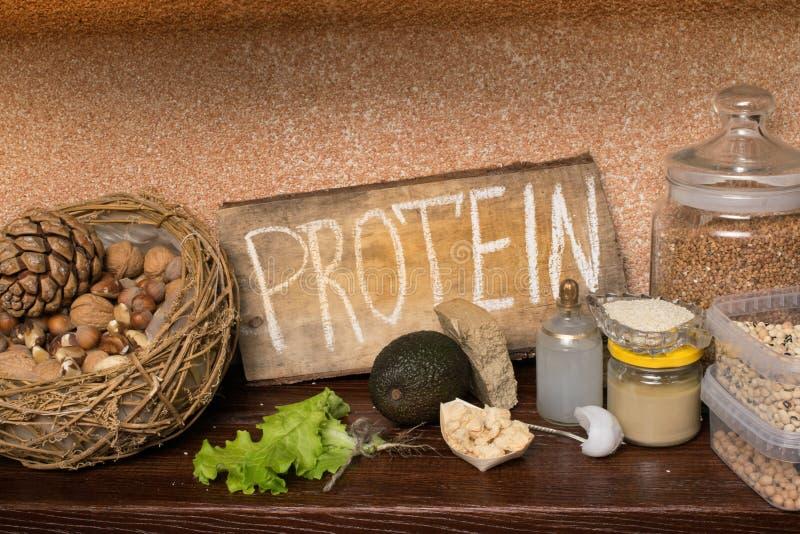 Πηγές λευκώματος Vegan τρόφιμα έννοιας υγιή στοκ εικόνες