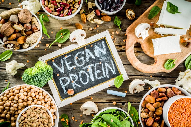 Πηγές πρωτεΐνης εγκαταστάσεων Vegan στοκ φωτογραφίες
