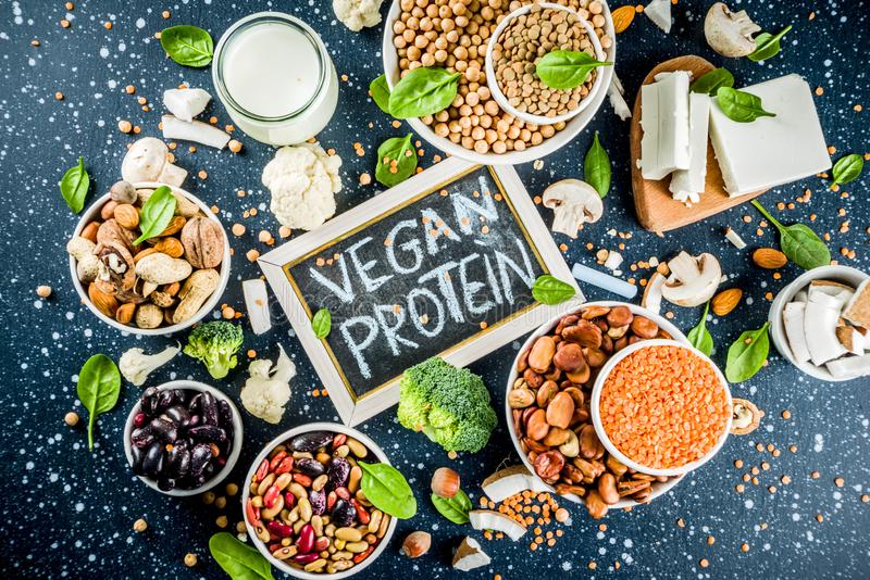 Πηγές πρωτεΐνης εγκαταστάσεων Vegan στοκ φωτογραφίες με δικαίωμα ελεύθερης χρήσης