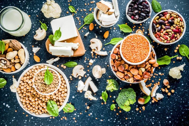 Πηγές πρωτεΐνης εγκαταστάσεων Vegan στοκ εικόνες