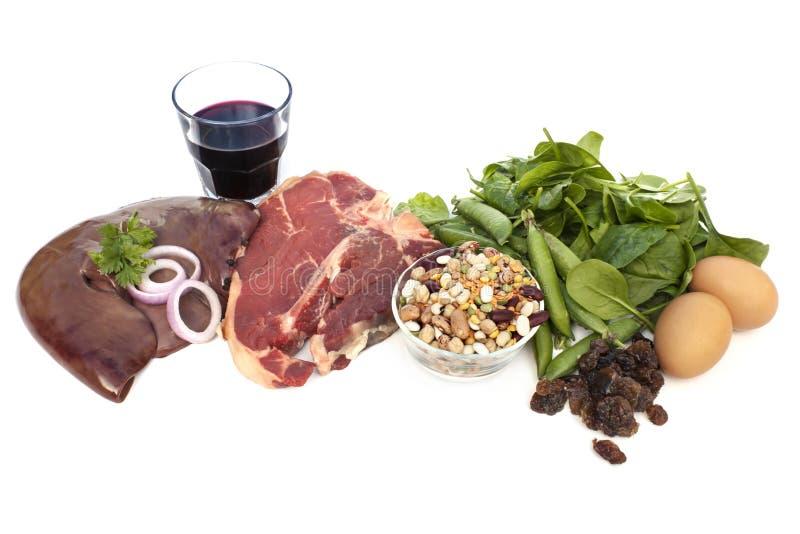 Πηγές τροφίμων σιδήρου που απομονώνονται στοκ εικόνες με δικαίωμα ελεύθερης χρήσης