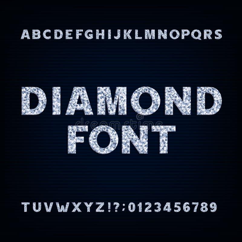 Πηγή αλφάβητου διαμαντιών Λαμπρά σύμβολα και αριθμοί επιστολών διανυσματική απεικόνιση