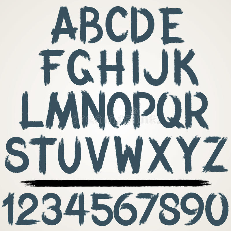 Πηγή αλφάβητου κτυπήματος βουρτσών πολικό καθορισμένο διάνυσμα καρδιών κινούμενων σχεδίων διανυσματική απεικόνιση