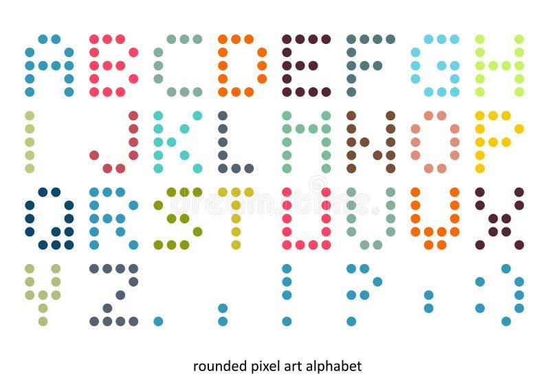 Πηγή αλφάβητου τέχνης εικονοκυττάρου στα χρώματα κρητιδογραφιών στοκ εικόνες με δικαίωμα ελεύθερης χρήσης