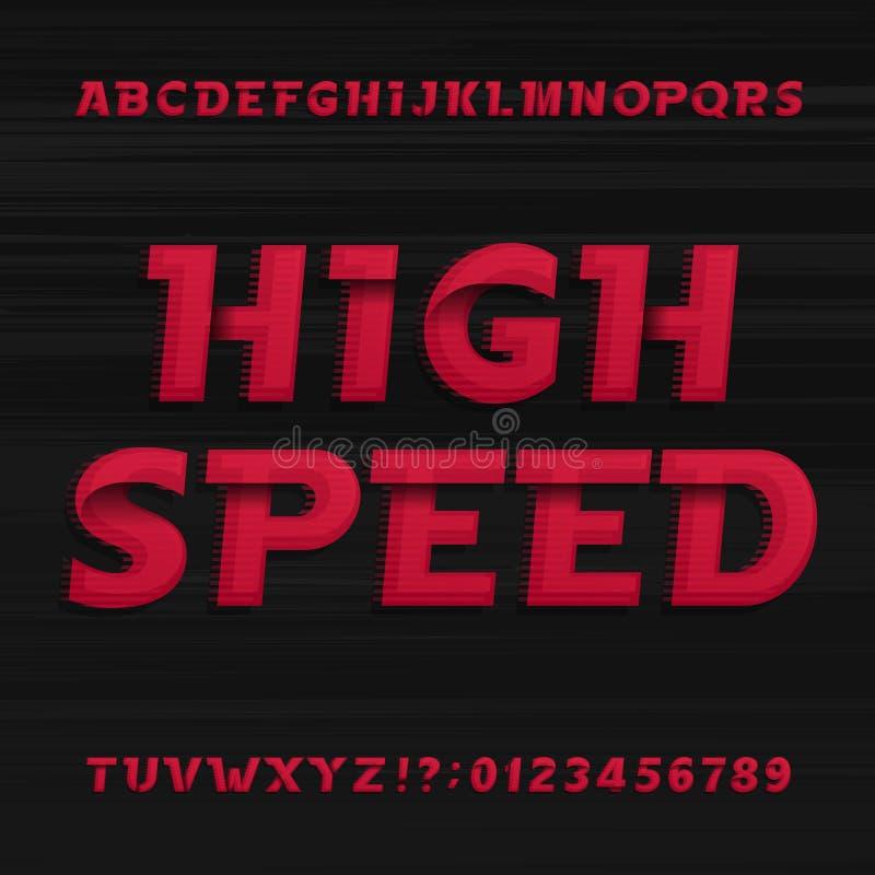 Πηγή αλφάβητου υψηλής ταχύτητας Πλάγιοι δυναμικοί αριθμοί και σύμβολα επιστολών διανυσματική απεικόνιση