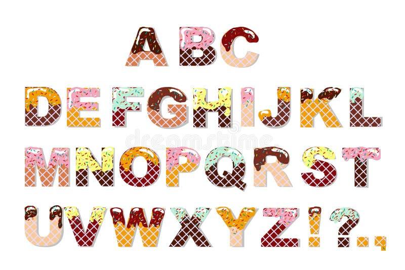 Πηγή γλυκιάς σοκολάτας καραμελών Αλφάβητο παγωτού Επιστολές γκοφρετών διάνυσμα ελεύθερη απεικόνιση δικαιώματος