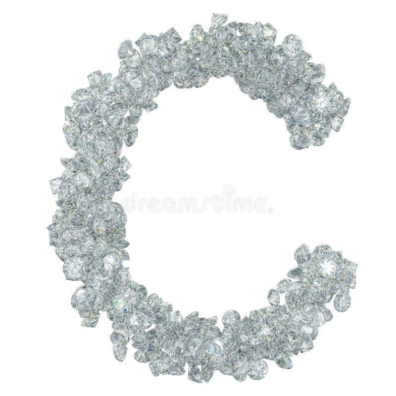 Πηγή διαμαντιών, γράμμα Γ από τα διαμάντια τρισδιάστατη απόδοση ελεύθερη απεικόνιση δικαιώματος