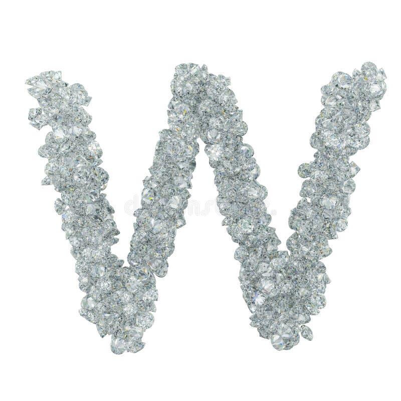 Πηγή διαμαντιών, γράμμα W από τα διαμάντια τρισδιάστατη απόδοση στοκ φωτογραφία