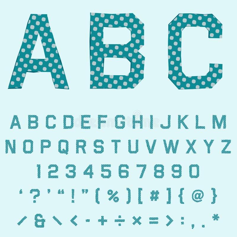 Πηγή με την πράσινη σύσταση σημείων Πόλκα για την αγγλική αναδρομική αφίσα διανυσματική απεικόνιση