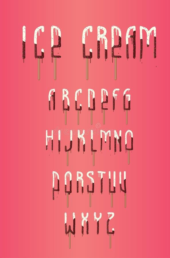 Πηγή παγωτού, popsicle αλφάβητο, τυπογραφία, χαρακτήρας, διάνυσμα, απεικόνιση στοκ φωτογραφίες